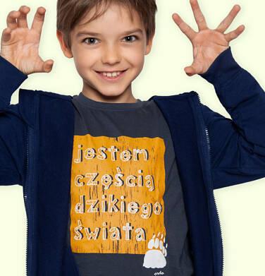 Endo - T-shirt z długim rękawem dla chłopca, z napisem, grafitowy, 9-13 lat C04G208_1 134