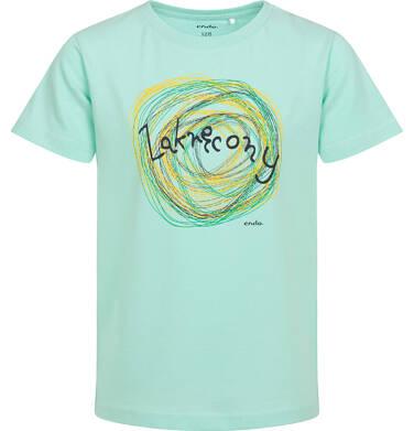 Endo - T-shirt z krótkim rękawem dla chłopca, z napisem zakręcony, miętowy, 2-8 lat C06G506_1 98