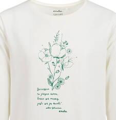 Endo - Bluzka z długim rękawem dla dziewczynki, błyszczący kwiatowy nadruk, porcelanowa, 9-13 lat D04G043_1