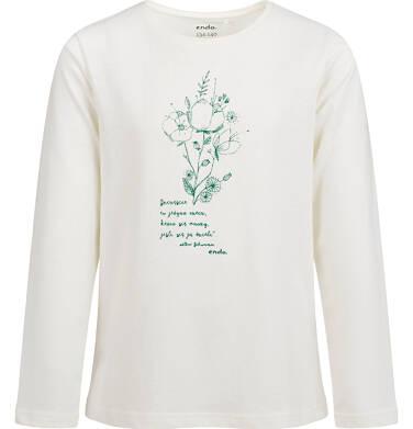Endo - Bluzka z długim rękawem dla dziewczynki, kwiatowy nadruk, porcelanowa, 9-13 lat D04G043_1 221