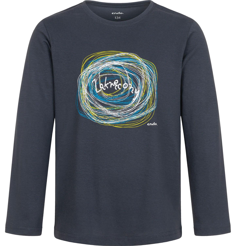 Endo - T-shirt z długim rękawem dla chłopca, zakręcony, grafitowy, 9-13 lat C04G209_1