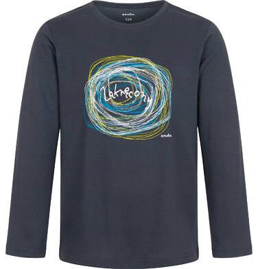 T-shirt z długim rękawem dla chłopca, zakręcony, grafitowy, 9-13 lat C04G209_1