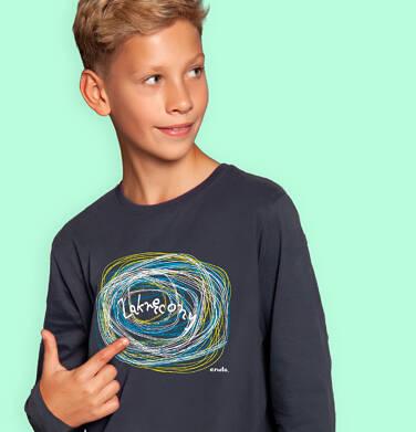 Endo - T-shirt z długim rękawem dla chłopca, zakręcony, grafitowy, 9-13 lat C04G209_1 133