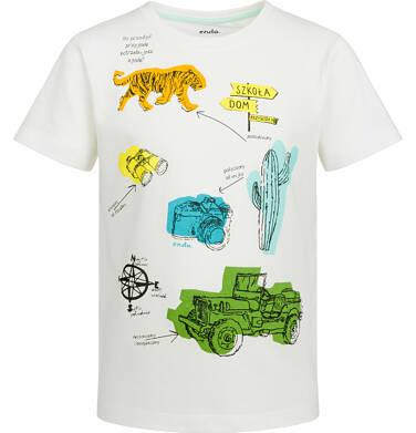 Endo - T-shirt z krótkim rękawem dla chłopca, przygoda, kremowy, 9-13 lat C03G553_1