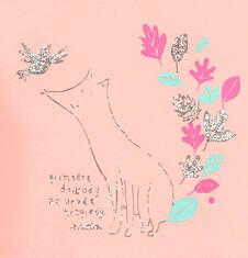 Endo - Bluzka z długim rękawem dla dziewczynki, z lisem, morelowa, błyszczący nadruk, 2-8 lat D04G046_1