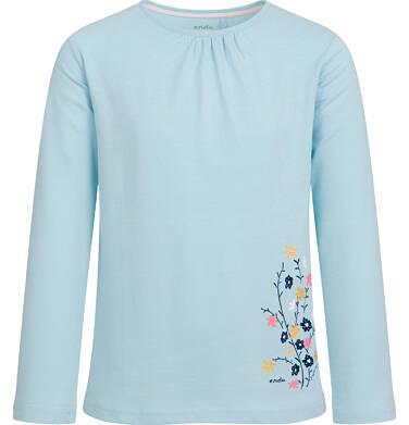 Endo - Bluzka z długim rękawem dla dziewczynki, z kwiatowym nadrukiem, błękitna, 9-13 lat D03G702_1 85