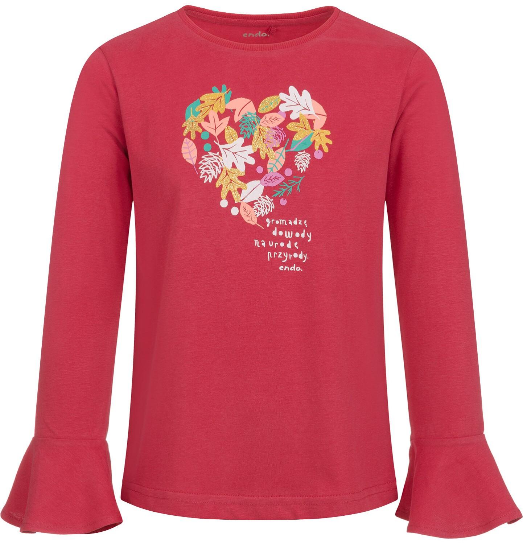 Endo - Bluzka z długim rękawem dla dziewczynki, z sercem, czerwona, 2-8 lat D04G048_1