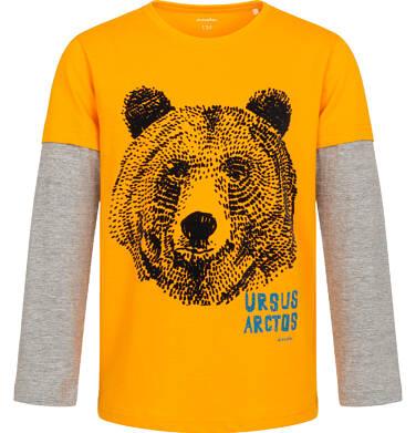 Endo - T-shirt z długim rękawem dla chłopca, z niedźwiedziem, pomarańczowy, 9-13 lat C04G211_1 29