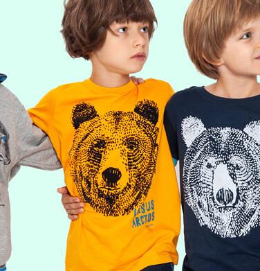 Endo - T-shirt z długim rękawem dla chłopca, z niedźwiedziem, pomarańczowy, 9-13 lat C04G211_1 79