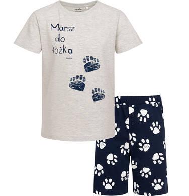 Endo - Piżama z krótkim rękawem dla chłopca, z napisem marsz do łóżka, szara, 9-13 lat C06V012_1 86