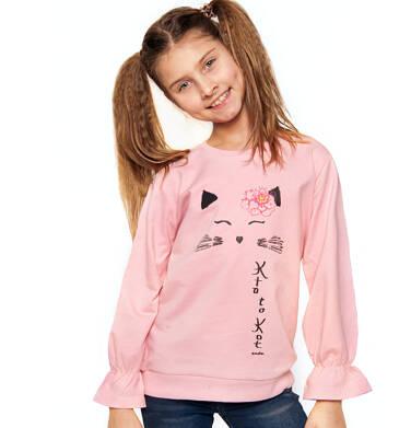 Endo - Bluza dla dziewczynki, z kotem i falbanką na rękawach, różowa, 9-13 lat D03C504_1