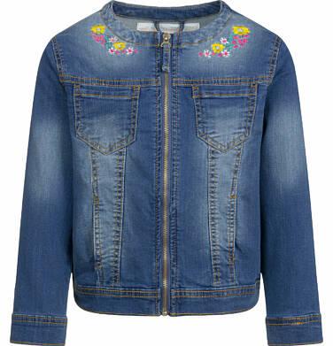 Endo - Jeansowa kurtka dla dziewczynki, z kwiatami przy dekolcie, 9-13 lat D03A510_1