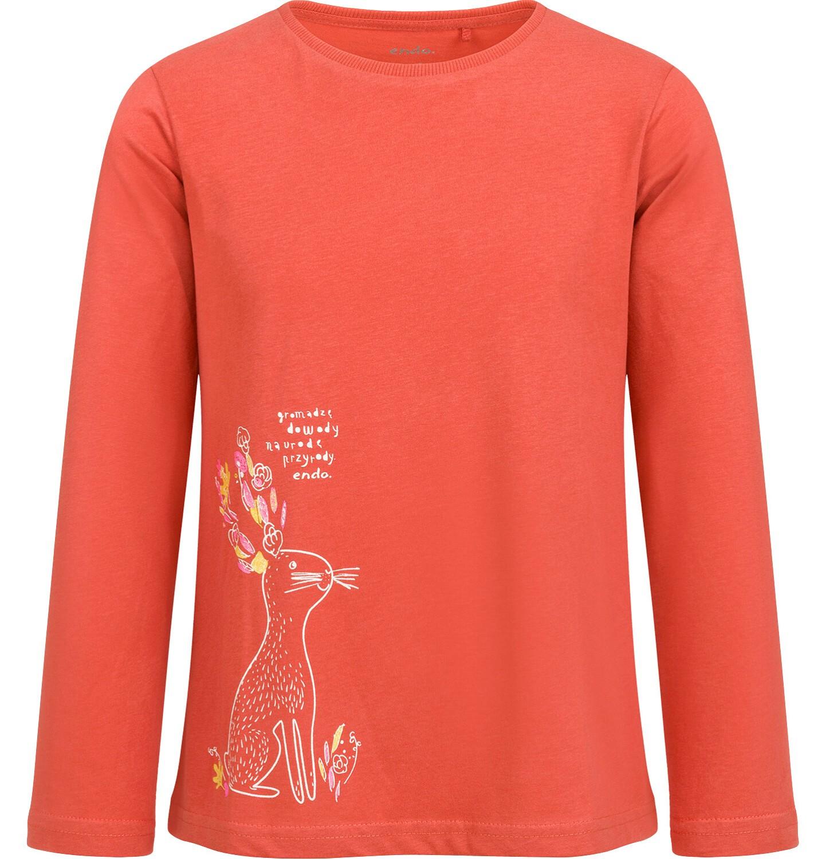 Endo - Bluzka z długim rękawem dla dziewczynki, z zającem, pomarańczowa, 2-8 lat D04G050_1