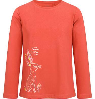 Bluzka z długim rękawem dla dziewczynki, z zającem, pomarańczowa, 2-8 lat D04G050_1