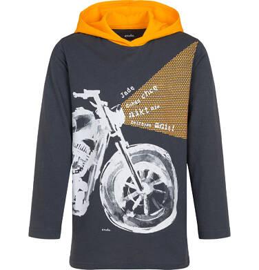 Endo - T-shirt z długim rękawem i kapturem dla chłopca, z motocyklem, grafitowy, 9-13 lat C04G212_1 20
