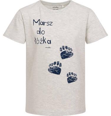 Endo - Piżama z krótkim rękawem dla chłopca, z napisem marsz do łóżka, szara, 2-8 lat C06V018_1 97