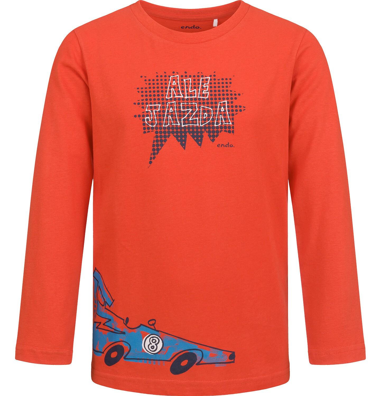 Endo - T-shirt z długim rękawem dla chłopca, z samochodem, czerwony, 2-8 lat C04G190_1