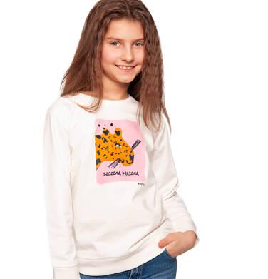 Bluza dla dziewczynki, z panterą, porcelanowa, 2-8 lat D03C005_1