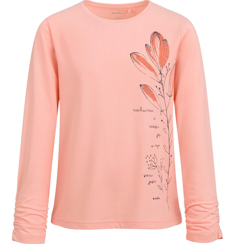 Endo - Bluzka z długim rękawem dla dziewczynki, kwiatowy nadruk, morelowa, 9-13 lat D04G054_1