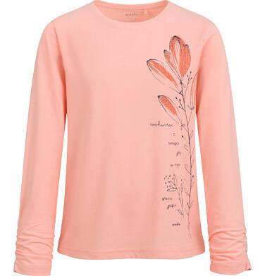 Endo - Bluzka z długim rękawem dla dziewczynki, kwiatowy nadruk, morelowa, 9-13 lat D04G054_1 22