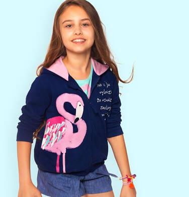 Endo - Rozpinana bluza z kapturem dla dziewczynki, z flamingiem, granatowa, 2-8 lat D06C007_1 1