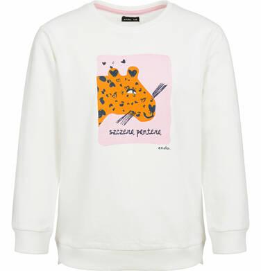Bluza dla dziewczynki, szczera pantera, porcelanowa, 9-13 lat D03C505_1