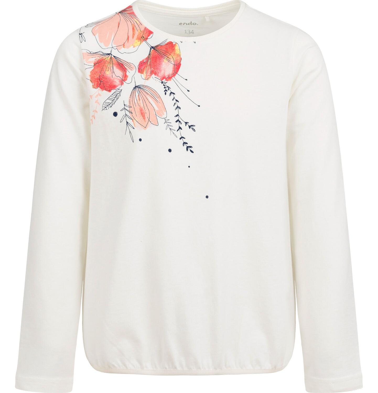 Endo - Bluzka z długim rękawem dla dziewczynki, błyszczący kwiatowy nadruk, porcelanowa, 9-13 lat D04G058_1