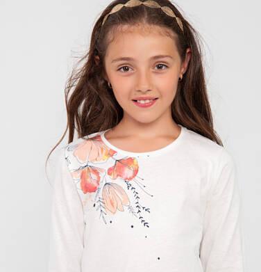 Endo - Bluzka z długim rękawem dla dziewczynki, błyszczący kwiatowy nadruk, kremowa, 9-13 lat D04G058_1 18