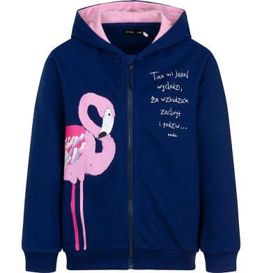 Endo - Rozpinana bluza z kapturem dla dziewczynki, z flamingiem, granatowa, 9-13 lat D06C014_1 1