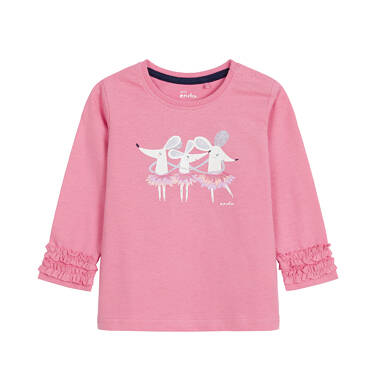 Bluzka z długim rękawem dla dziecka do 3 lat, z myszkami, różowa N92G096_1