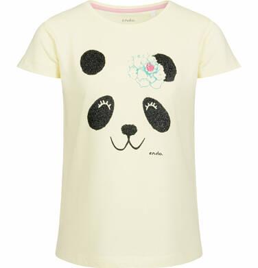 Endo - Bluzka z krótkim rękawem dla dziewczynki, z pandą, żółta, 2-8 lat D03G001_1