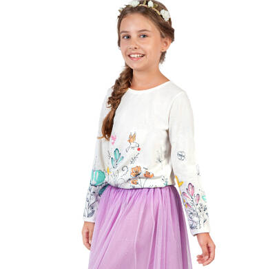 Endo - Bluzka z długim rękawem dla dziewczynki, kwiatowy nadruk, kremowa, 9-13 lat D04G060_1 35