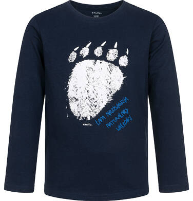 Endo - T-shirt z długim rękawem dla chłopca, z niedźwiedzią łapą, granatowy, 2-8 lat C04G214_1 5