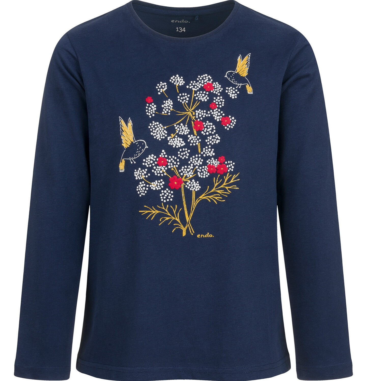 Endo - Bluzka z długim rękawem dla dziewczynki, w kwiaty, granatowa, 9-13 lat D04G126_1