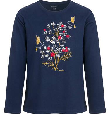 Bluzka z długim rękawem dla dziewczynki, w kwiaty, granatowa, 9-13 lat D04G126_1