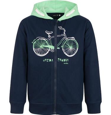 Bluza z kontrastowym kapturem dla chłopca, z rowerem, granatowa, 2-8 lat C03C038_1