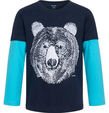 Endo - T-shirt z długim rękawem dla chłopca, z niedźwiedziem, granatowy, 2-8 lat C04G216_1 14