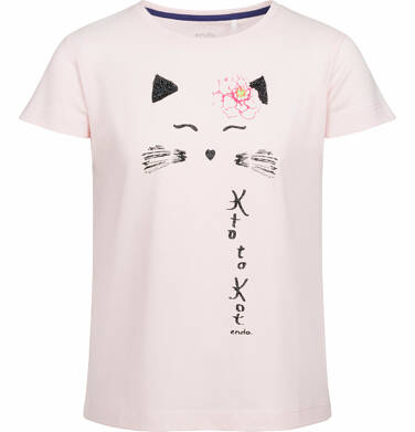 Endo - Bluzka z krótkim rękawem dla dziewczynki, z kotem, różowa, 9-13 lat D03G502_1