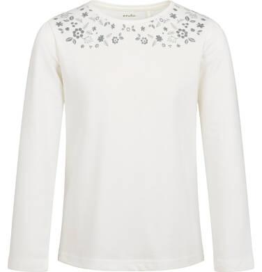 Bluzka z długim rękawem dla dziewczynki, ozdobny kołnierzyk, porcelanowa, 9-13 lat D04G129_2