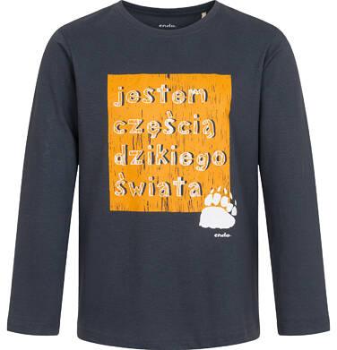 Endo - T-shirt z długim rękawem dla chłopca, z napisem, grafitowy, 2-8 lat C04G217_1 3