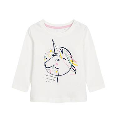 Endo - Bluzka z długim rękawem dla dziecka do 3 lat, myślę o kosmosie, złamana biel N92G085_1