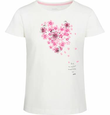 Endo - Bluzka z krótkim rękawem dla dziewczynki, kwiat kwitnącej wiśni, porcelanowa, 2-8 lat D03G004_1