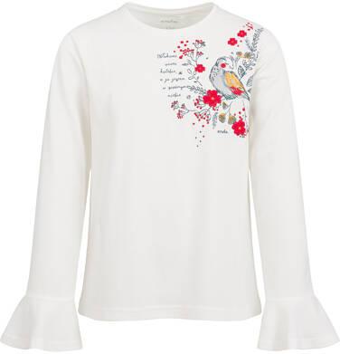 Endo - Bluzka z długim rękawem dla dziewczynki, z ptakiem w kwiatach, porcelanowa, 9-13 lat D04G132_1 208
