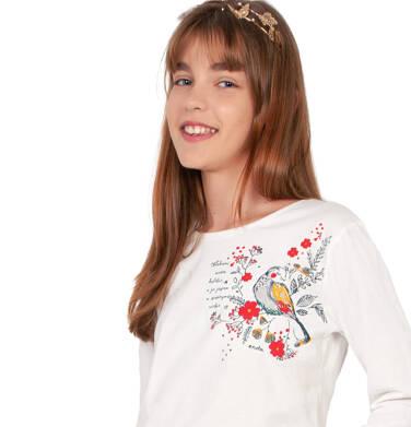 Endo - Bluzka z długim rękawem dla dziewczynki, z ptakiem w kwiatach, porcelanowa, 9-13 lat D04G132_1 7
