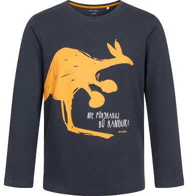 T-shirt z długim rękawem dla chłopca, z kangurem, grafitowy, 2-8 lat C04G218_1