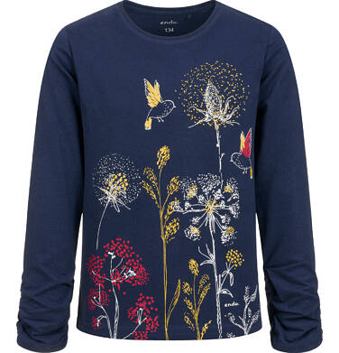 Bluzka z długim rękawem dla dziewczynki, motyw w kwiaty, granatowa, 9-13 lat D04G141_1