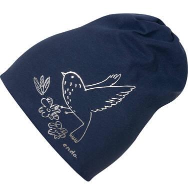 Czapka dla dziecka, z ptakiem, granatowa D04R007_1