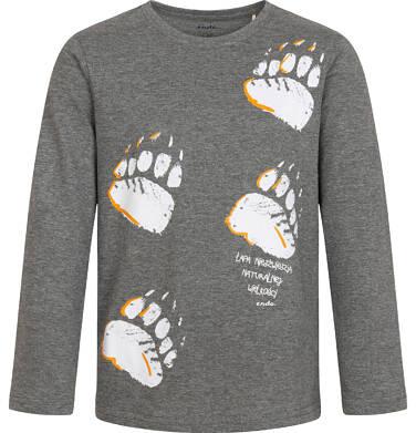 Endo - T-shirt z długim rękawem dla chłopca, z tropem niedźwiedzia, szary melanż, 2-8 lat C04G220_1 1