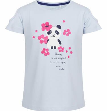 Bluzka z krótkim rękawem dla dziewczynki, z pandą w kwiatach, niebieska, 9-13 lat D03G505_1