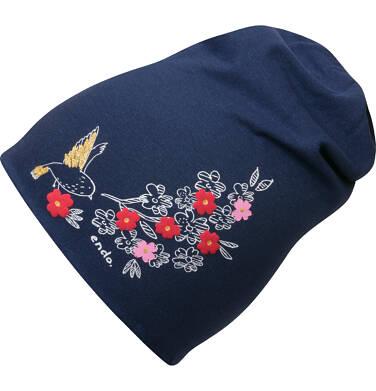 Endo - Czapka dla dziecka, nadruk z kwiatem, granatowa D04R009_1 39
